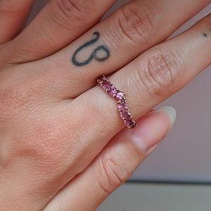 Vintage pink tourmaline 10K yellow gold ring